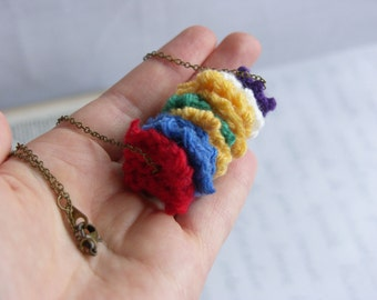 Rainbow Knit Necklace -- Bold & Quirky Pendant -- Hand-Knitted Squares -- Unique -- Colorful -- Brass Chain