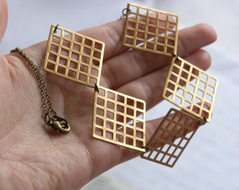Fashion Geometry Brass Square Grid Necklace - 'Square One'
