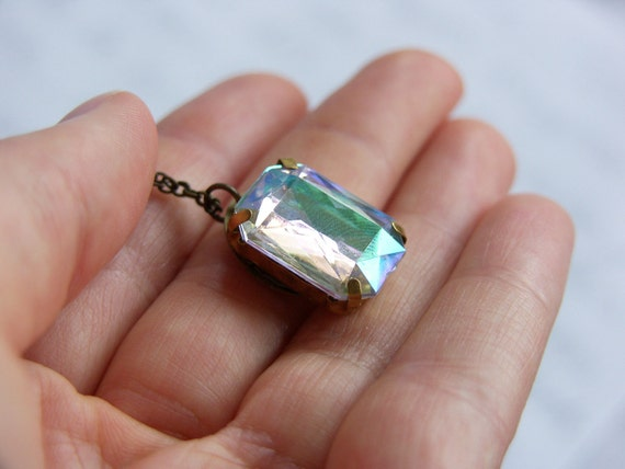 Vintage Clear AB Gem Necklace - 'Jewel in the Crown'