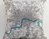 Vintage LONDON  Map Pillow, Made to Order 15 x15 Cover