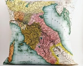 vintage TUSCANY, Italy map pillow DIY KIT, made to order 16x16 envelope style