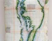 Vintage CHESAPEAKE BAY Nautical Chart Pillow, Made to Order 15 x 20 Cover
