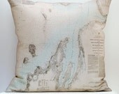 Vintage LAKE MICHIGAN Map Pillow, Made to Order 18 x 18 Cover
