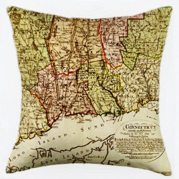 Vintage Map Pillow, CONNECTICUT, Made to Order 18x18 Cover, Linen Blend