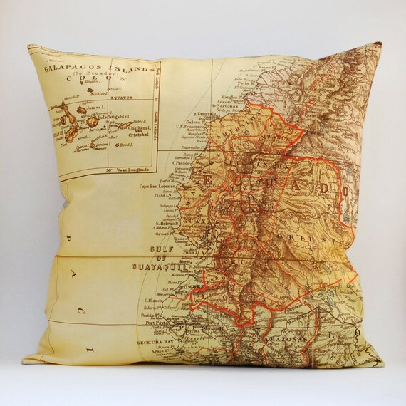 Ready to Ship ECUADOR Vintage Map Pillow, 18x18 Cover