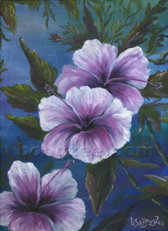 EVENING HIBISCUS Original Oil Painting 9x12 Art Artwork