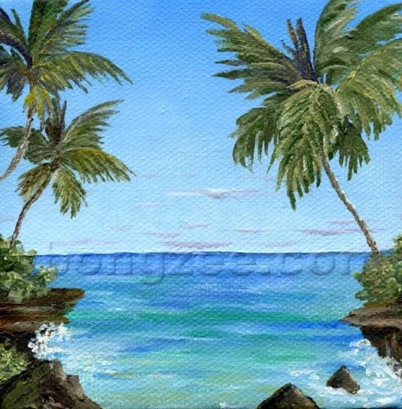 TRANQUIL COVE 4 x 4 Mini Original Oil Painting Art Artwork Tropical Palm Tree Ocean Hawaii Caribbean Tahiti Tropics Lisabongzee
