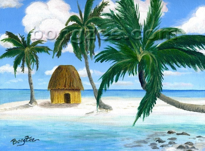 Tropical Tiki Hut Palm Tree Original Oil Painting Bongzee