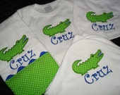 Personalized Coming Home Outfit  Going Home Outfit Cruz Personalized Alligator Bib Burp Onesie and Blanket