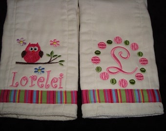 Lorelei Personalized Burps Set - Personalized with your choice of name and and initial
