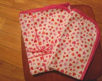 Hot pink hearts print Flannel Blanket and Burp Set - Hot pink edging around