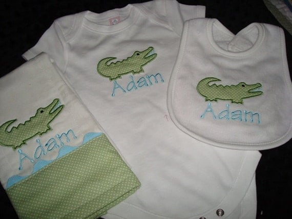 Adam Personalized Gown or Bodysuit Bib and Burp Coming home from Hospital Outfit Going Home Outfit Alligator Bib Burp and Bodysuit -