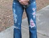 Size-8/9 Destroyed patched Nebraska Cornhuskers Swarovski crystal jeans