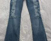 Blue cult hand destroyed Swarovski crystal jeans 28
