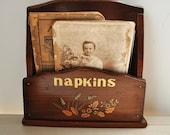 vintage farmhouse country art decor wood napkin holder---organization--wood shelf