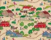 adorable vintage 1950s farmhouse, country scene wrapping paper