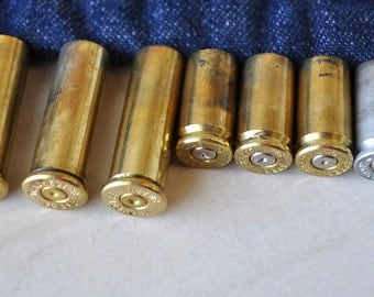 12  Brass and silver industrial Bullet Shell Casings..Ammo Casing / Bullet Shells / Jewelry Making, Assemblage/ Steampunk/Altered Art