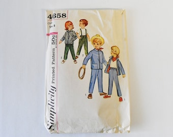 60s vintage simplicity pattern 4658-- Childrens Western Pants, Jacket and Kerchief Vintage Sewing Pattern, Simplicity 4658 Size  8
