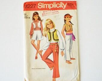 60s Girls Hippie Mod Bolero Vest Pants Shorts Pattern Vintage Simplicity 8227 -- size 7