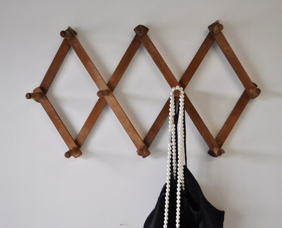 vintage wooden accordian peg rack--apartment decor