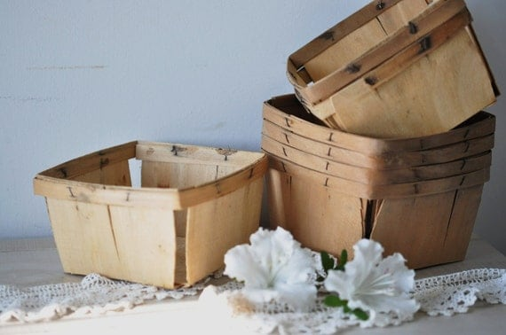 vintage wood strawberry baskets--sets of three--eco friendly