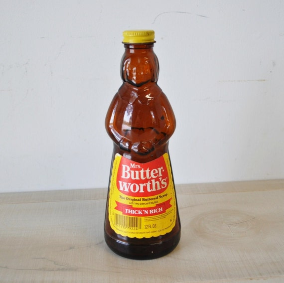 Small Vintage Amber Colored Mrs. Buttersworth Syrup