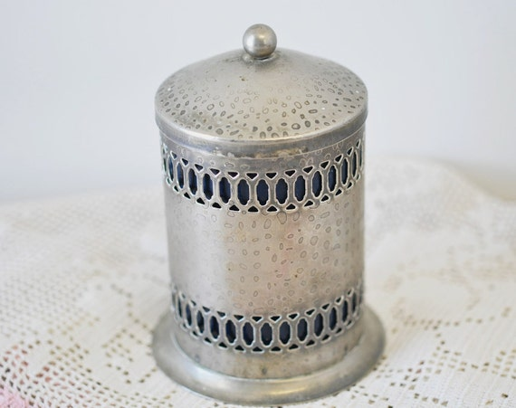 Vintage Silverplated Cotton Swab Q Tip Holder Candle