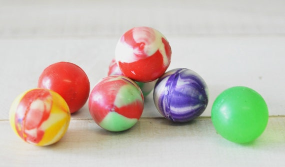 1980s vintage rainbow swirl colored gumball rubber balls--display, toy, art supplies