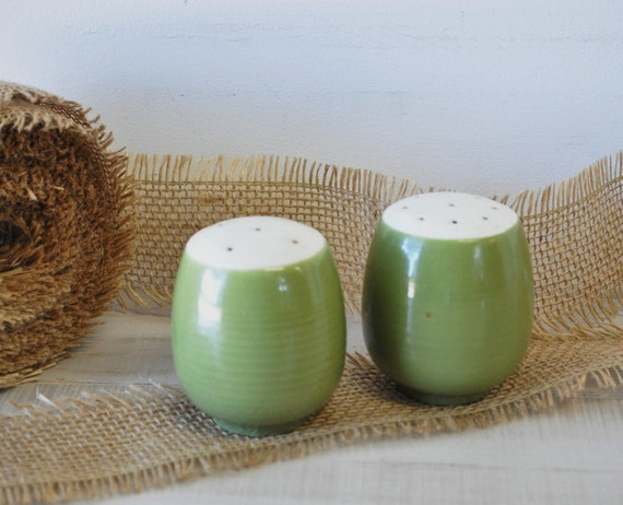 vintage 60s avocado green salt and pepper shakers
