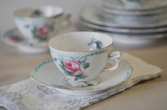 Afternoon Tea and Cakes--antique clairon pattern bone china teacup and saucer with dessert plate