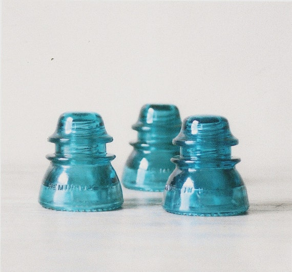 INDUSTRIAL Vintage aqua blue green Glass Electrical Insulator