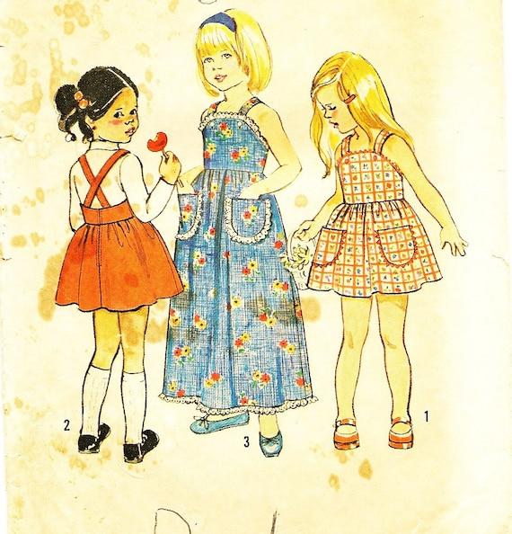 vintage 1970s childs dress / jumper  pattern--simplicity 6421 size 5