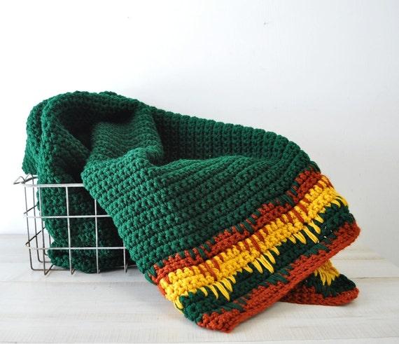 reserved for Ann----amazing chevron zig zag border hand knitted afghan coverlet blanket--cabin decor