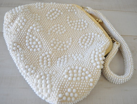 amazing 1950s white pearl beaded purse--rockabilly glamour