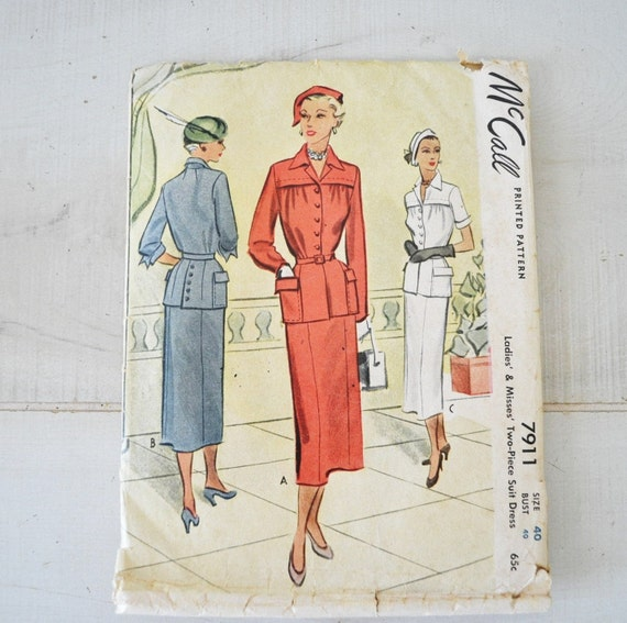 1940s vintage jacket and skirt womans dress pattern--mccalls  7911