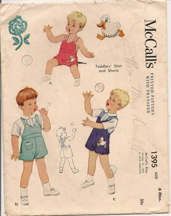 1940's McCalls Toddlers Shirt and Shorts Pattern with Embroidery Transfer