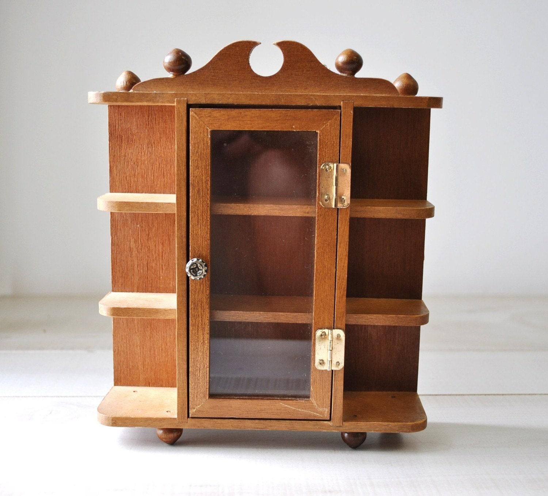 Kitchen Shelf Display: Vintage Wooden Miniature Curio Display Cabinet Shelf