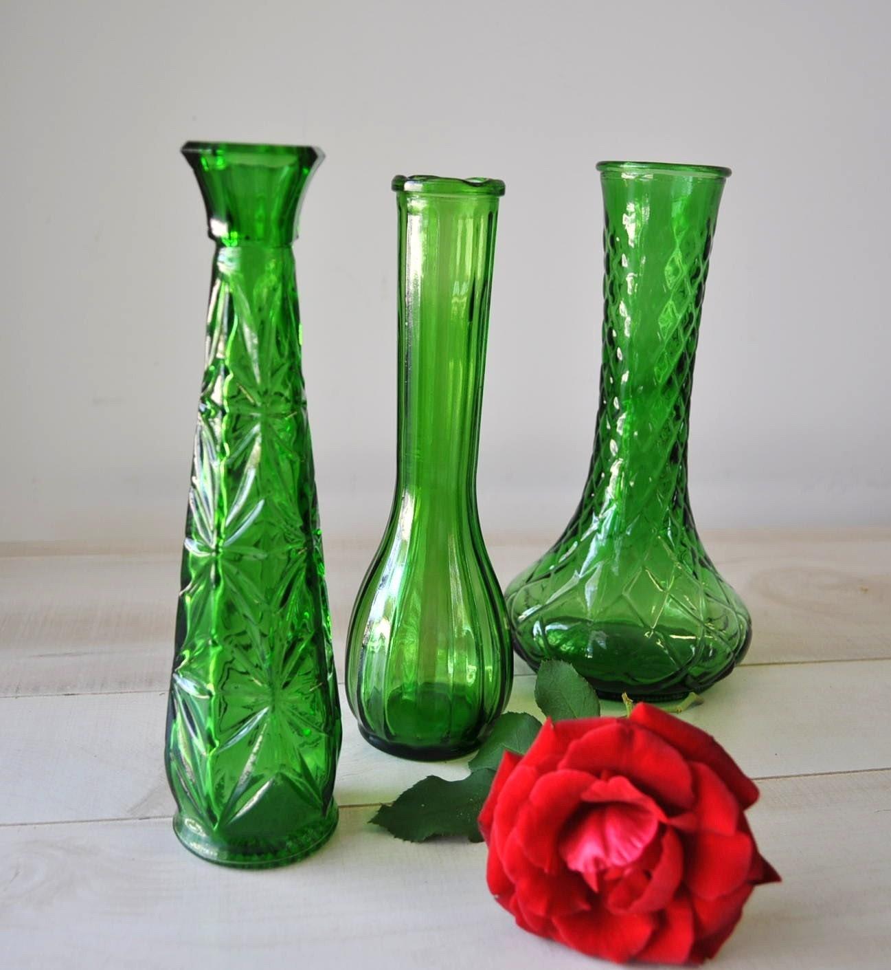 3 Vintage Green Hoosier Glass Vases