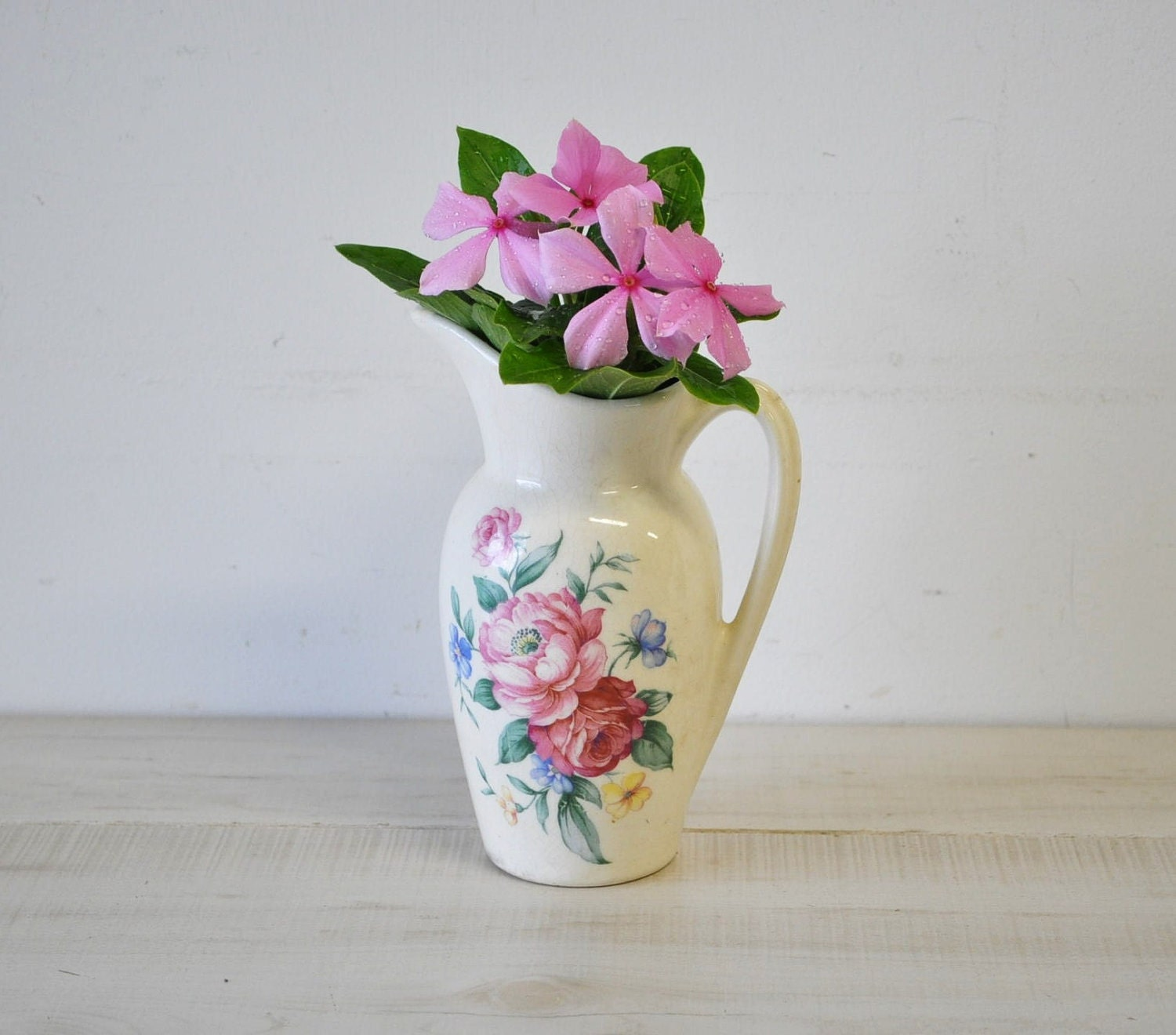 Vintage Royal Copley Pitcher Vase With Pink Flowers