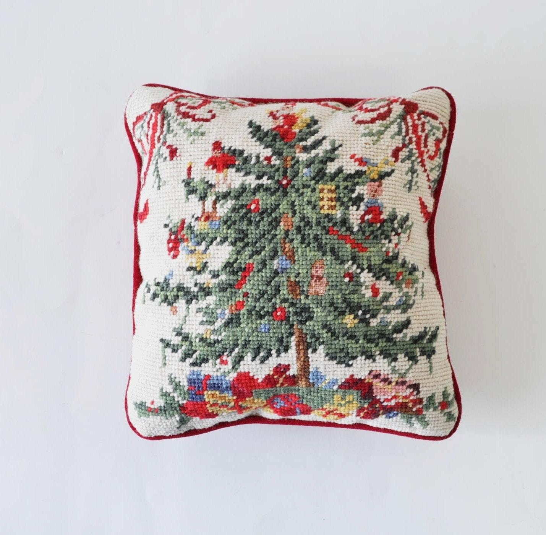 Vintage 60s Needlepoint Christmas Tree Pillow