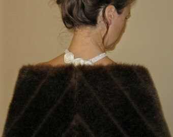 Dark Brown Mink Fur Shawl