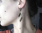 Vintage Brass Rhombus and Chains Earrings