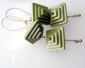 Mod Avocado Green Stack Earrings
