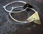 Silver Hoop Earrings Gold or Silver Triangles
