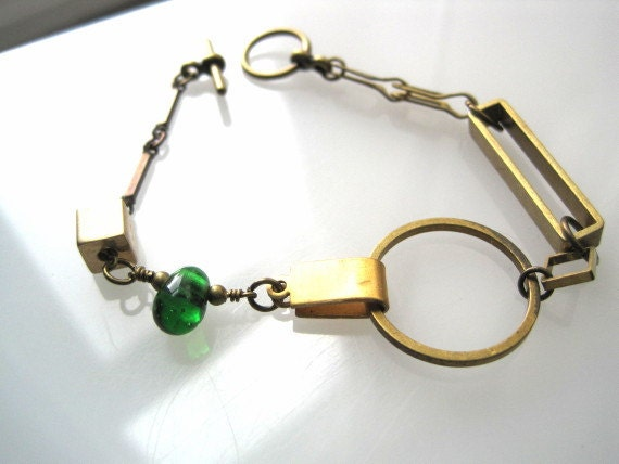 Eclectic Mixed Metals with a Hint of Green Glass Bead