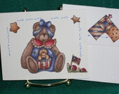 NOTECARDS--Patriotic Bears in Fabric Applique