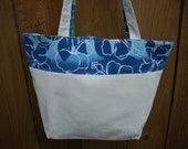 White Cotton Denim Tote with Blue Floral