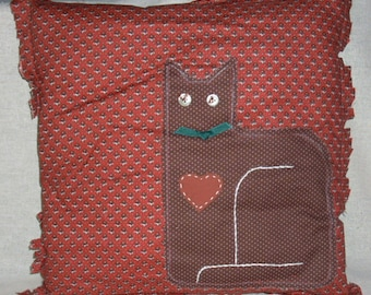 Country Cat Pillow in Brown Calico