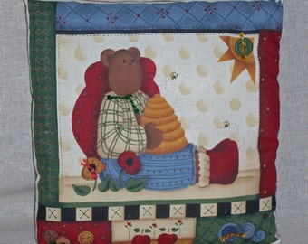 PILLOW--Country Angel Bear with Honey Bees
