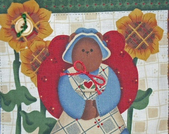 PILLOW--Country Angel Bear with Sunflowers